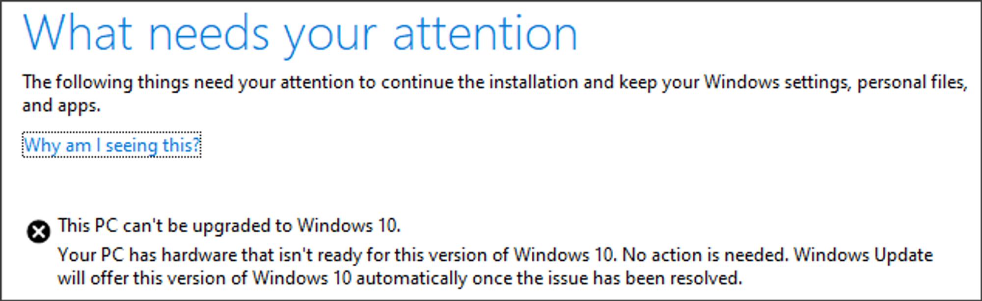 Feilmeldingen som kan bli vist under installasjonen av Windows 10 May 2019 Update dersom eksterne lagringsenheter er tilkoblet PC-en.