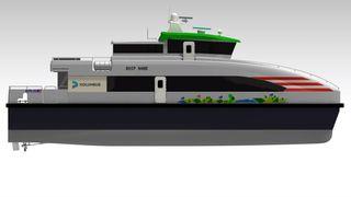 Verdens første hybrid-hurtigbåt satt i rute i Haugesund