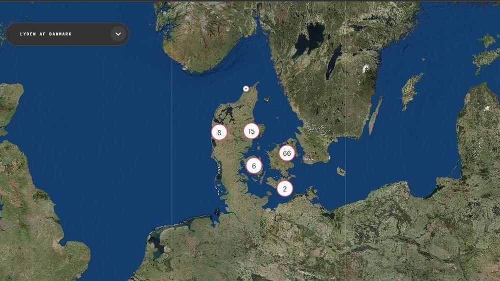 Slik ser de første konturene av et lydkart over Danmark ut. Ambisjonen er mer enn 100.000 lydopptak fra hele landet.