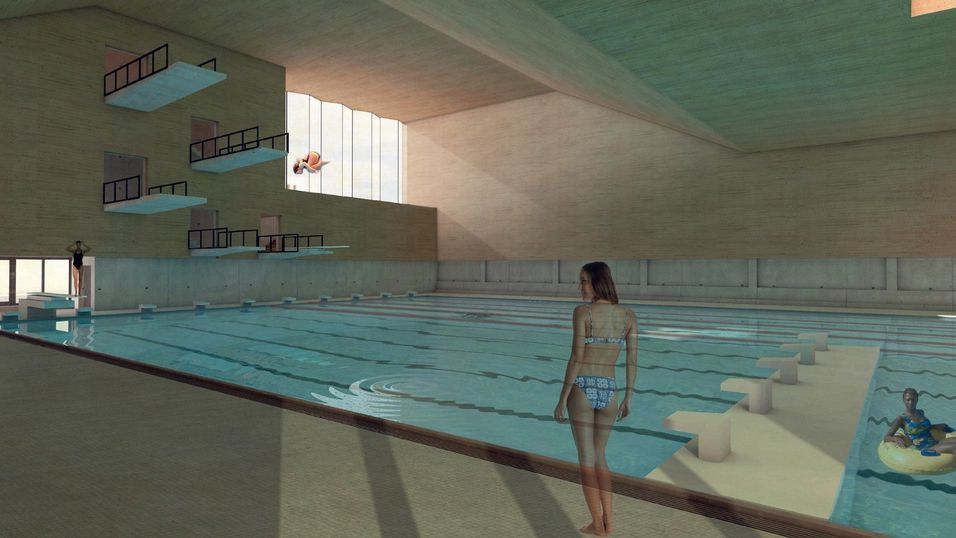 c75b8446 KAN BLI HALVERT: Svømmehallen på Langhus skulle bygges med tre basseng. Det  største skulle