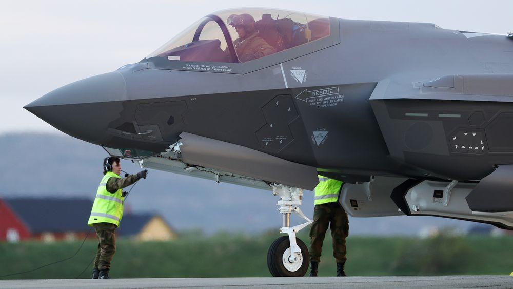 Et av de tre F-35-flyene som landet på Ørland første gang 22. mai i fjor.