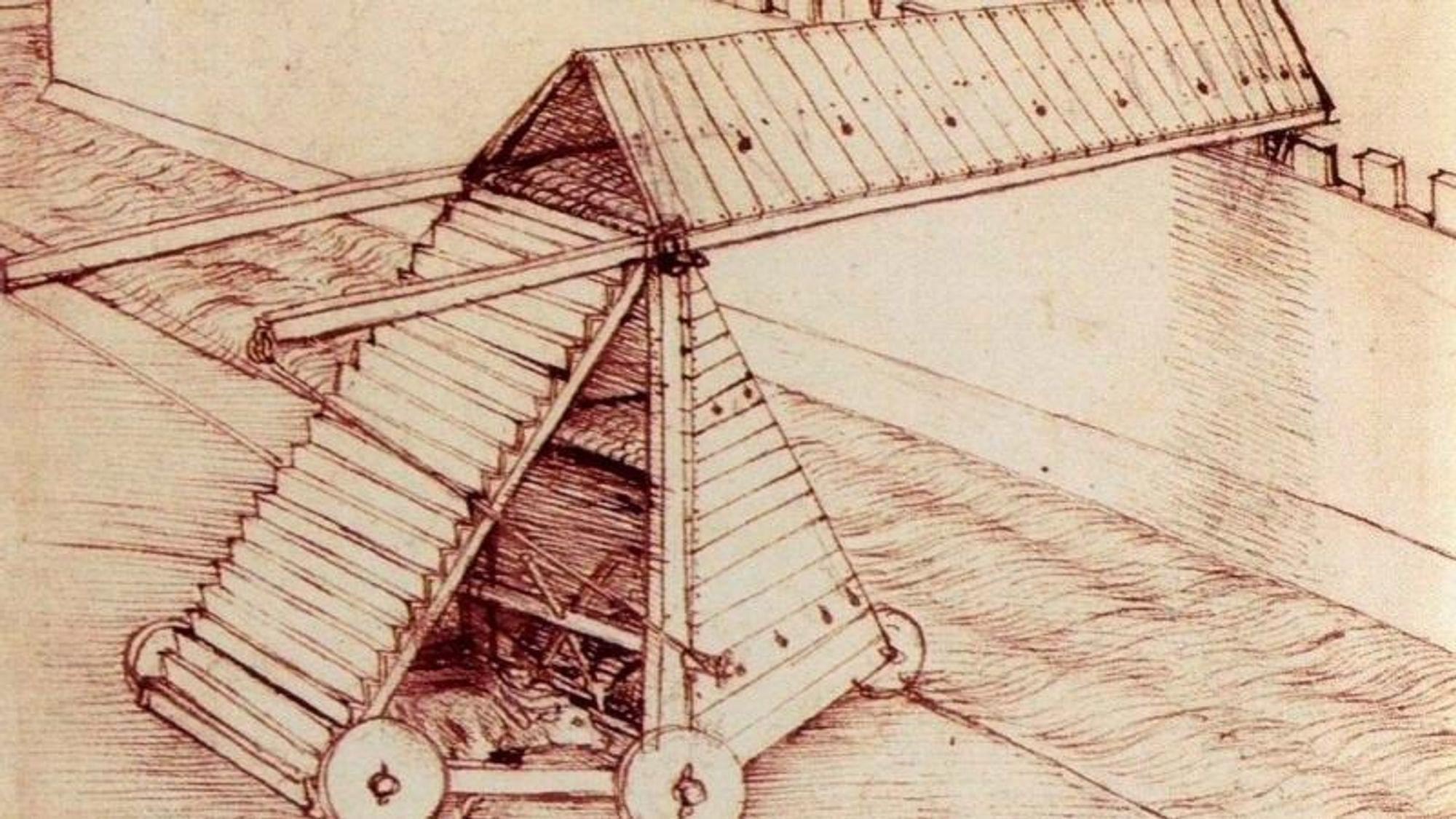 Leonardo framhevet gjerne kunnskapen sin om maskiner til krigføring. Her er en skisse fra ca. 1481 av en konstruksjon som skulle brukes i forbindelse med beleiringer.