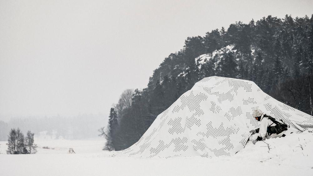 Vinterkamuflasjenett fra Saab Barracuda.