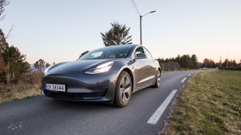 Tesla Model 3, fra da TU testet den tidligere i år.