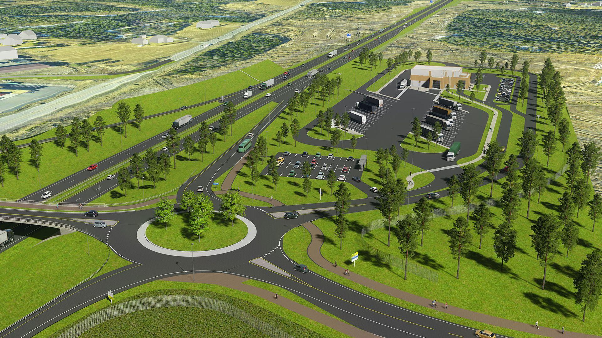 Planbildet viser hvordan ny firefelts veg og ny kontrollstasjon vil se ut ved Ånestad i Løten kommune.