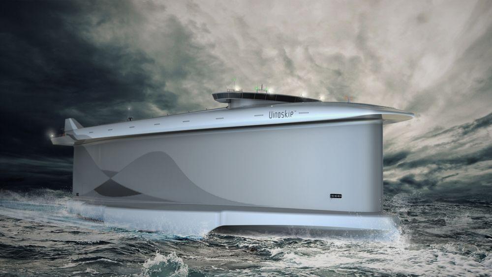 Dette spektakulære skipet bruker teknologi fra speed-seiling, der alt handler om å seile inn i vinden, ikke med vinden.