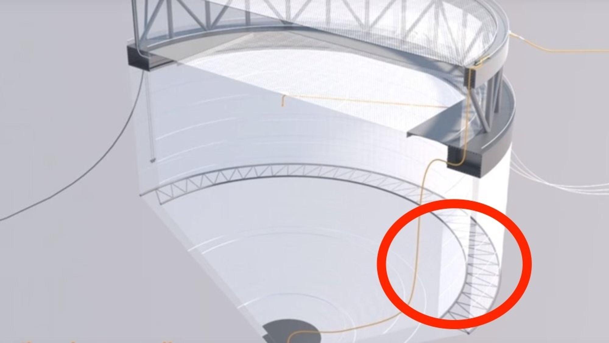 Skjermdump fra Youtube-videoen som Aker Solutions mener beviser at Marine Constructions notløsning var kjent før den ble patentert.