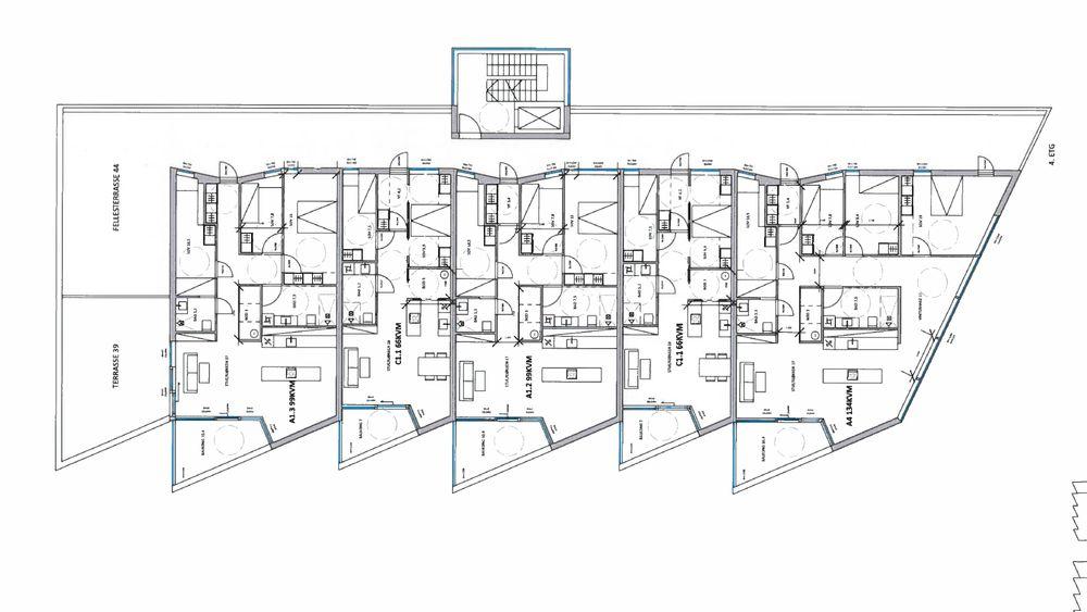 Plantegninger over én av etasjene i Vangberg-prosjektet, der byggherren frykter at alle gulvene på rives opp og legges på nytt.