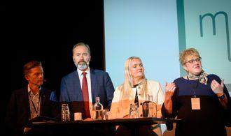 Mediedebatt: Tage Pettersen (H), Trond Giske (Ap), Åslaug Sem-Jacobsen (Sp) og kulturminister Trine Skei Grande (V)