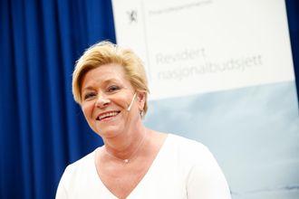 Finansminister Siv Jensen holder pressekonferanse om revidert nasjonalbudsjett 2019.