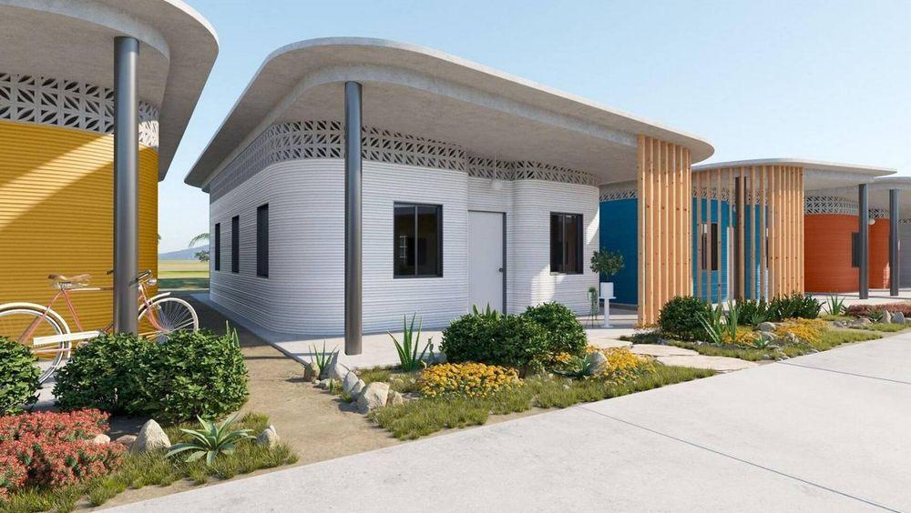 Et designbyrå fra San Fransisco skal sette opp 50 slike 3D-printede hus på bare ett døgn.