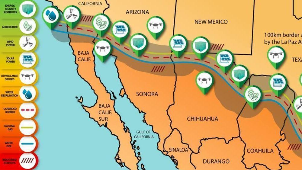 Slik forestiller forskere seg en energikorridor med vindmøller, solceller og utvinning av naturgass langs grensen mellom USA og Mexico.