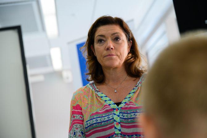 Konsernsjef Kristin Skogen Lund i Schibsted under førstekvartalspresentasjon i 2019.