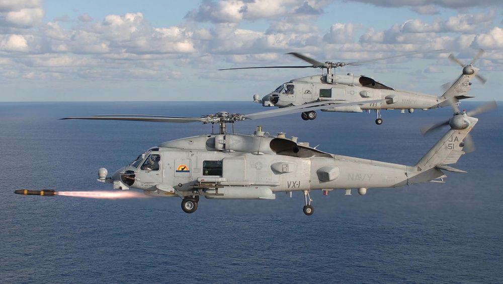 Sikorsky MH-60R Seahawk-helikopter skyter et Hellfire-missil, men kryssermissiler har helikopteret foreløpig ikke integrert.