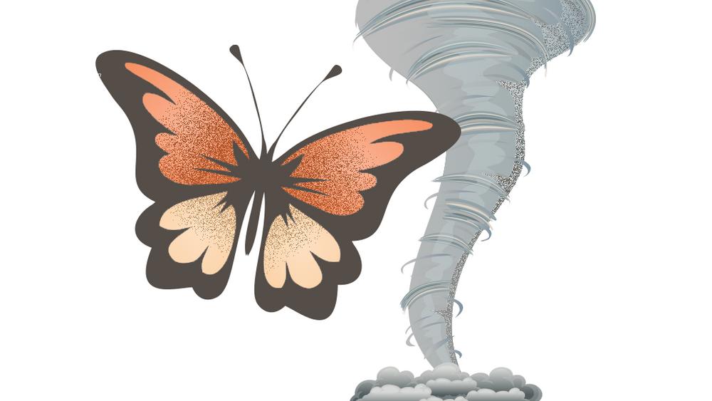 Feltet kaosteori oppsto efter foredraget «Kan en sommerfugl som slår med vingene i Brasil utløse en tornado i Texas?», som ble holdt av den amerikanske matematikeren og meteorologen Edward Lorenz i 1972.