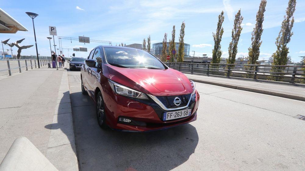 Nissan Leaf med 62 kWh batteri på Gardermoen.