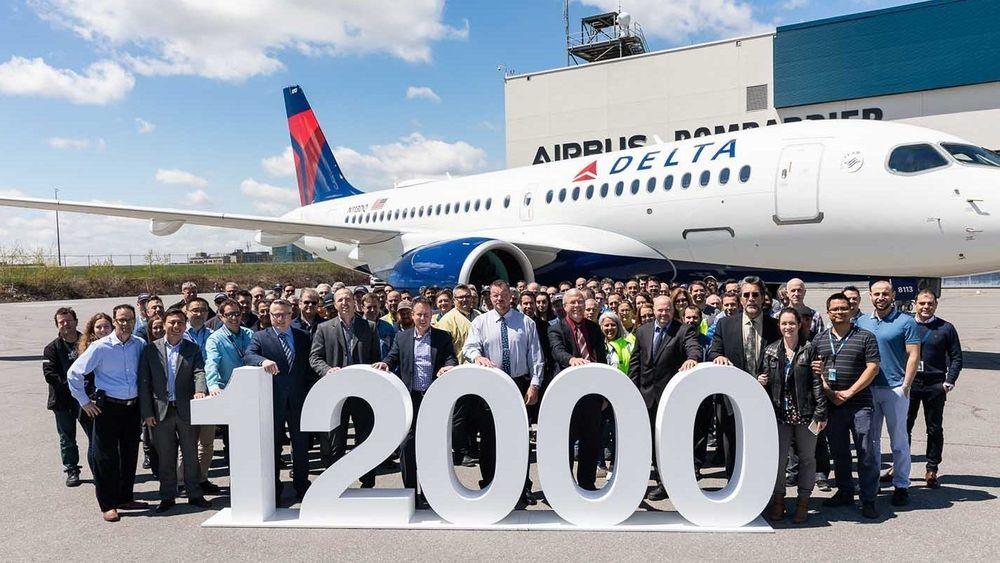 Airbus nummer 12.000 ble et A220-100 som mandag ble overlevert til Delta Air Lines fra fabrikken i Canada.