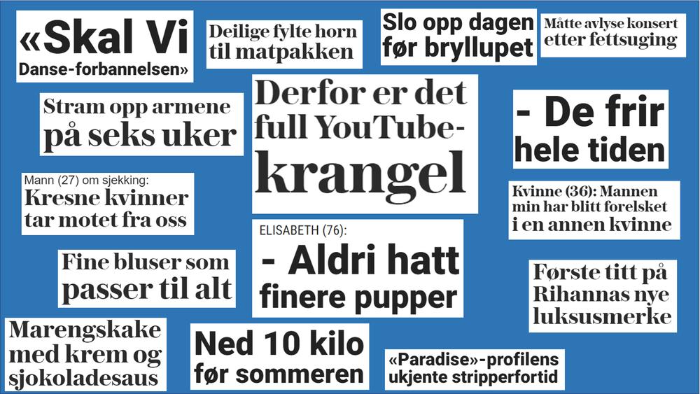 Et utvalg av artikler onsdag 22. mai i to av nettavisene som har momsfritak, noe regjeringen nekter å gi til TU.no. – Dermed ekskluderes de moderne digitale dybdemediene som i årevis har drevet innovasjon for å tilpasse seg leserne i et utfordrende marked, skriver styreleder i TU Media, Lise Lyngsnes Randeberg.