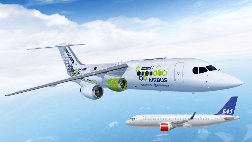 SAS, her representert ved A320 Neo, og Airbus, representert ved E-Fan X, går sammen om å forske på hybridelektriske og elektriske fly. (Montasje)