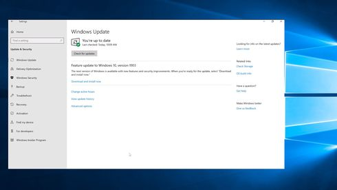 Windows 10 version 1903 er klar for nedlasting og installasjon i Windows Update.