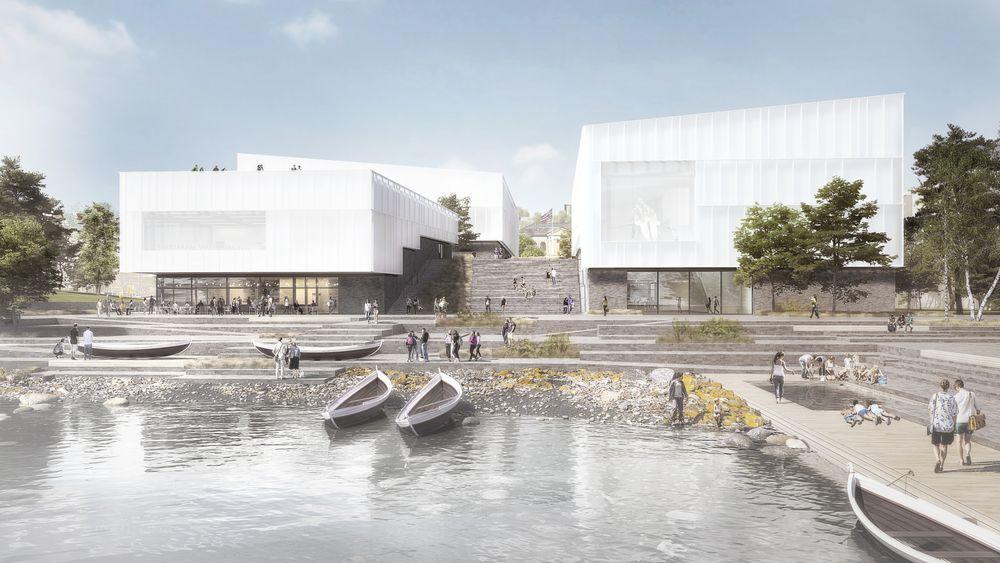 Slik er skissen fra Henning Larsen Architects til nytt arktisk museum i Tromsø.