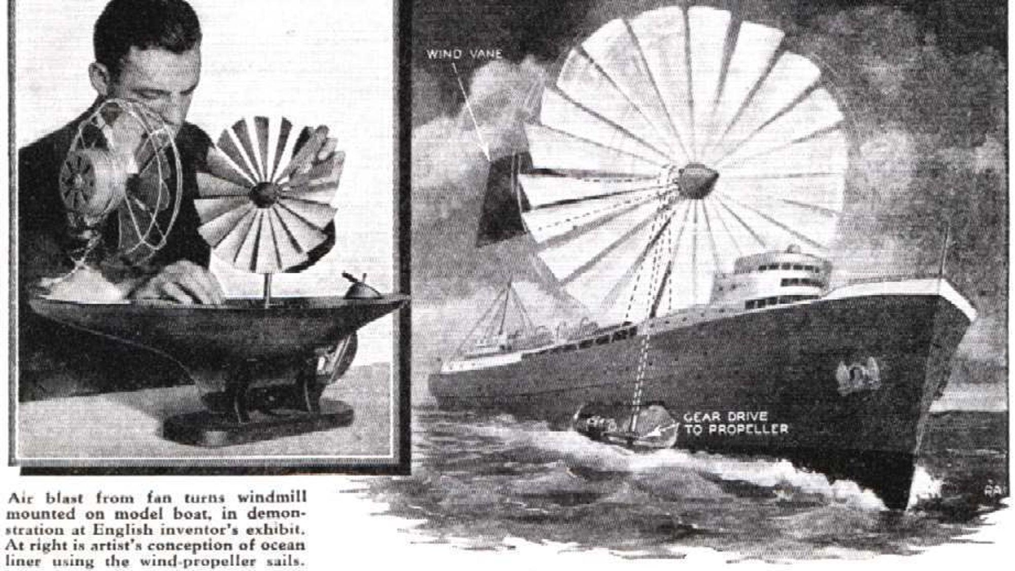 Trolig en patent på vindkraft-drevet skip fra 30-tallet. Vindteknologi har ikke gjort sitt store comeback i maritim industri siden den ble danket ut av damp for rundt 150 år siden, men stadig flere gjør et forsøk.