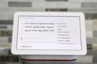 Nest Hub kan lese opp matoppskrifter for deg.