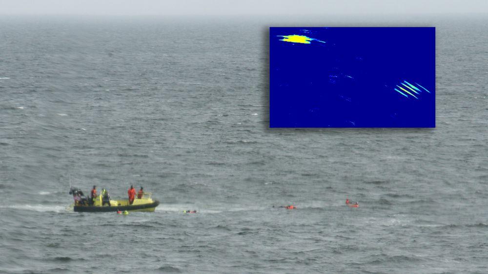 Elektronisk radar: Radarbildene over viser tydelig de fem personene i vannet, samt lettbåten på bildet.