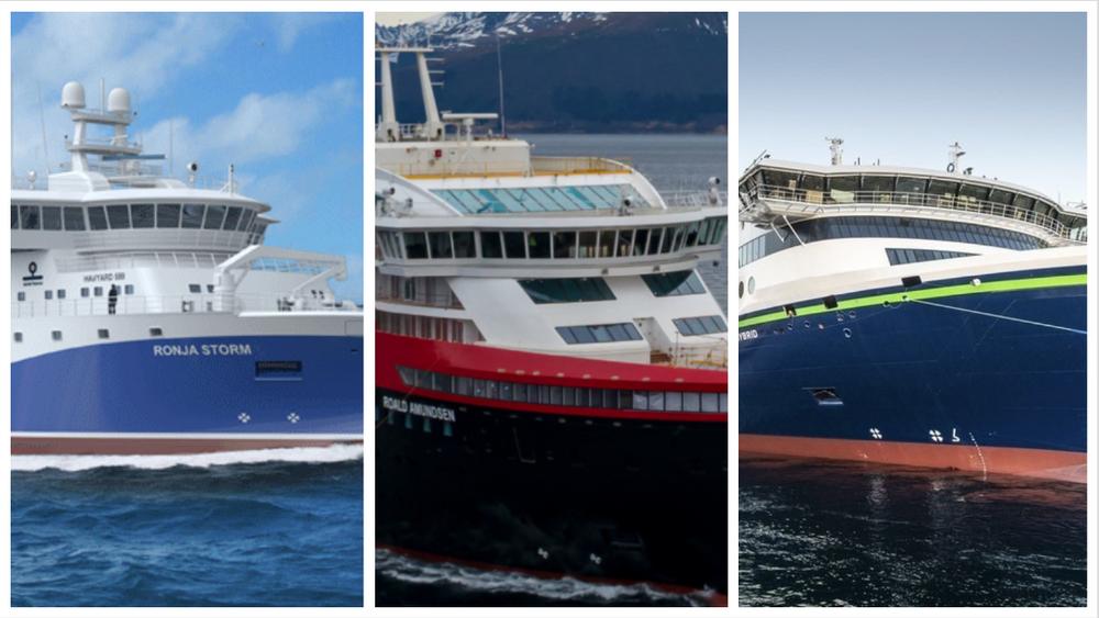 Fra venstre: MS «Ronja Storm», MS «Roald Amundsen» og MS «Color Hybrid».