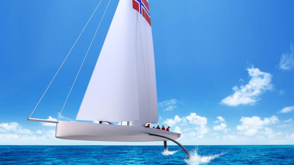Rekordfart: Norsteam skal fly over vannet i 50 knop.
