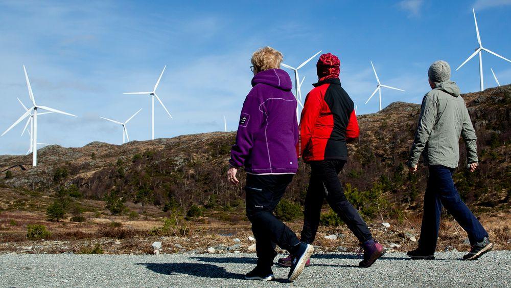 Vi kan ikke pålegge noen å bygge vindmøller der det ikke er lokal aksept for det, sier Sandra Borch (Sp). Bildet er fra Midtfjellet vindpark i Fitjar i Hordaland.