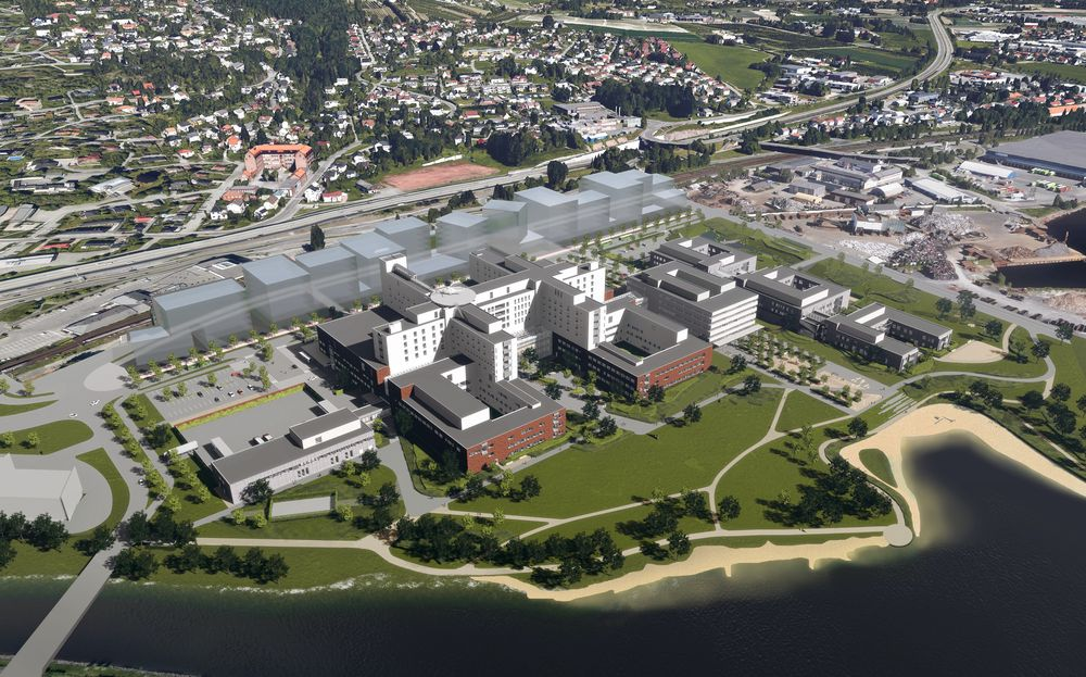Slik vil det nye sykehuset på Brakerøya i Drammen ligge. Tomta skal heves med 3,4 meter for å sikre sykehuset mot flom.