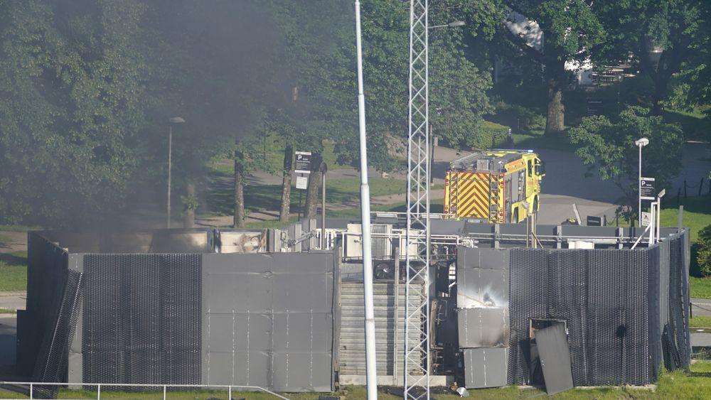 Her ryker det fra stedet der det som trolig er en hydrogentank eksploderte i Sandvika.