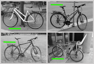 Montasje av fire svart/hvitt-bilder av ulike sykler. Alle har en grønn strek på bildet. Ved hjelp av disse bildene skal du lære ordet «sykkel» på et fremmed språk. Men hva om du tror ordet betyr «grønn strek»?