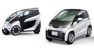 Bilen til høyre kan gå i 60 kilometer i timen, og har en rekkevidde på 100 kilometer. Den skal lanseres neste år. Den andre doningen er et konsept med tilsvarende spesifikasjoner.