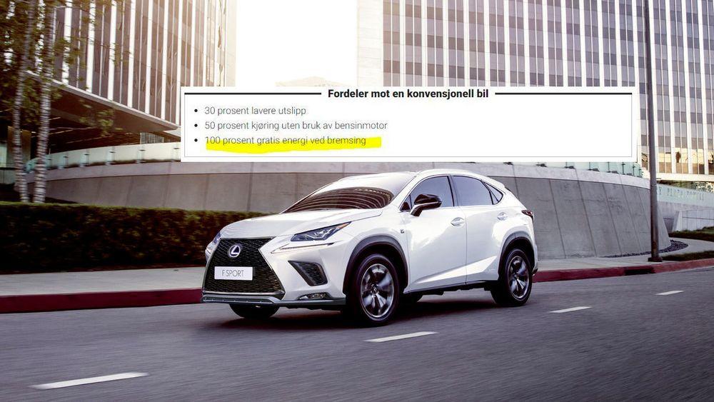 «Selvladende hybrider» er tilsynelatende magiske biler. Her et klipp fra en Lexus-kampanje. Men i bunn og grunn er det en bensinbil.