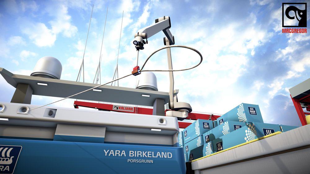 MacGregor i Kristiansand og Arendal skulle opprinnelig utvikle en robot for montering av bygningsplater. Det første kommersielle produktet blir i stedet en fortøyningsrobot.