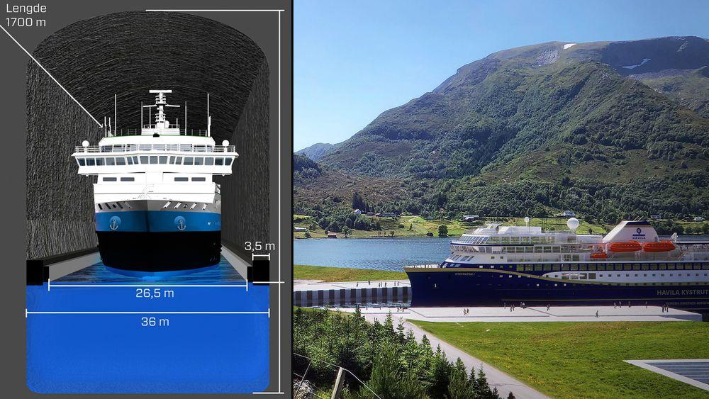 Stad skipstunnel er 1,7 kilometer og planlagt mellom Moldefjorden og Kjødepollen for å gjøre skipstrafikken tryggere.
