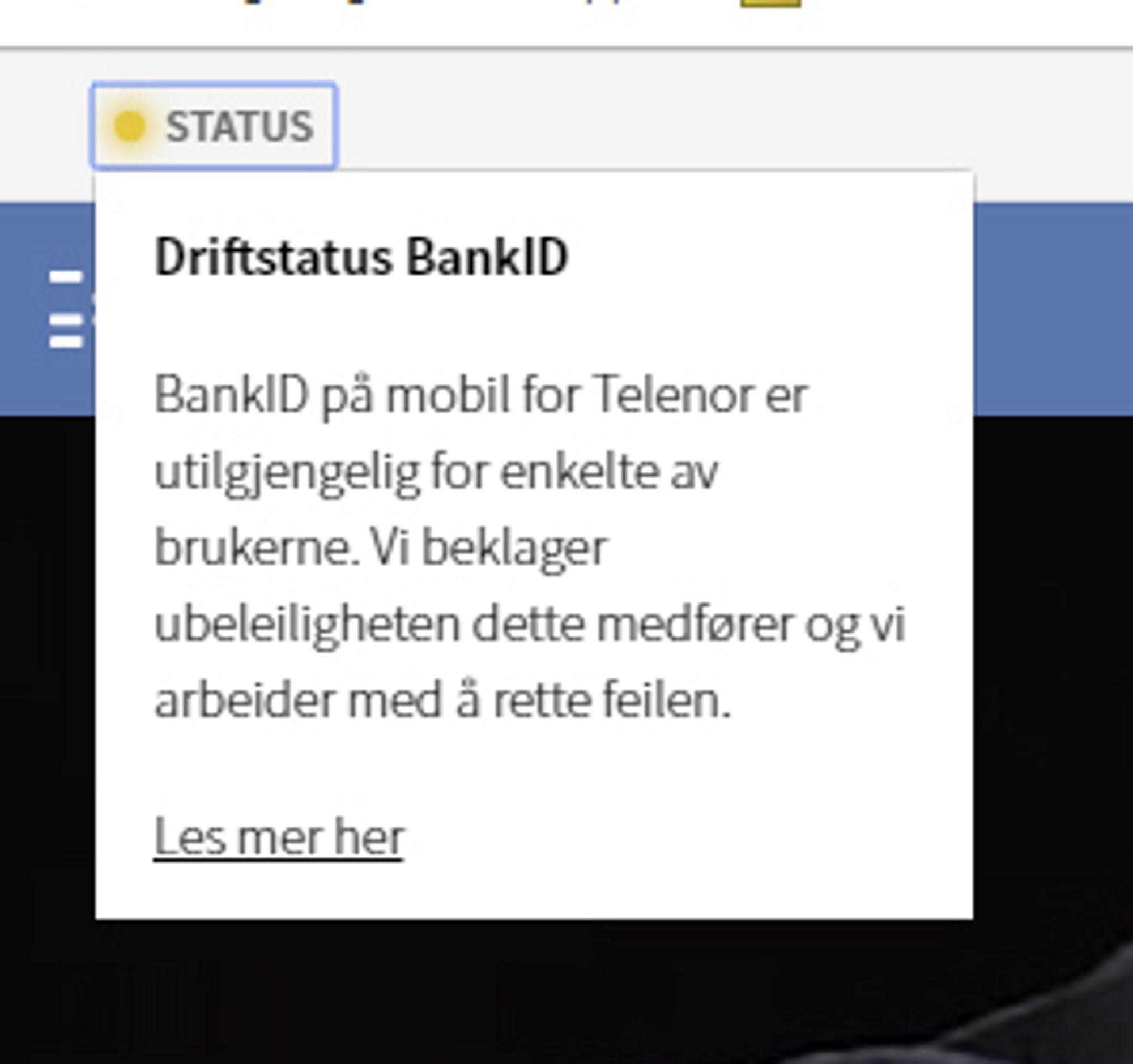 Driftsmelding fra BankID om problemer med BankID på mobil.