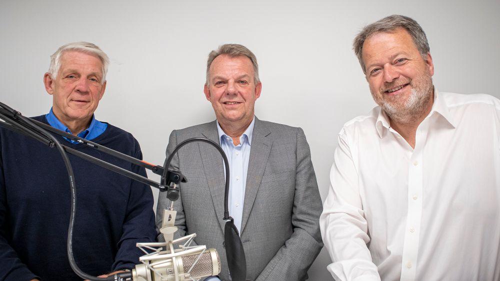 Torstein Dale Sjøtveit i Freyr, flankert av TUs journalist Odd Richard Valmot (t.v.) og sjefredaktør Jan M. Moberg.