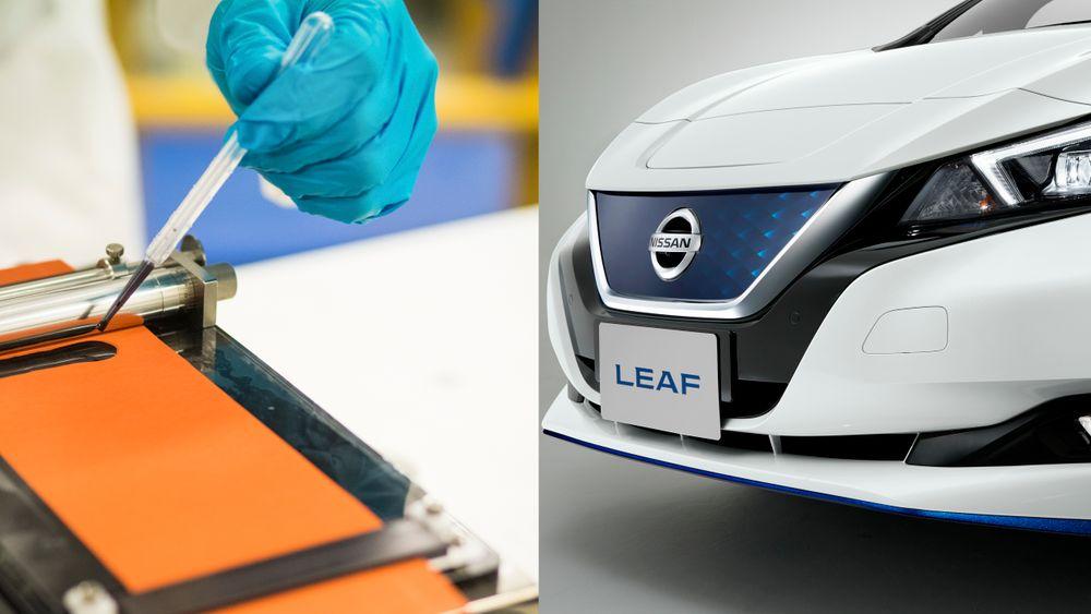 Anoden i et li-io batteri består av to syltynne sjikt. Den sorte grafittpastaen vi ser på bildet blir  strøket ut over den oransje kobberfolien. Bildet er fra laboratorieforsøk som nå skal oppskaleres til industrielt pilotanlegg.