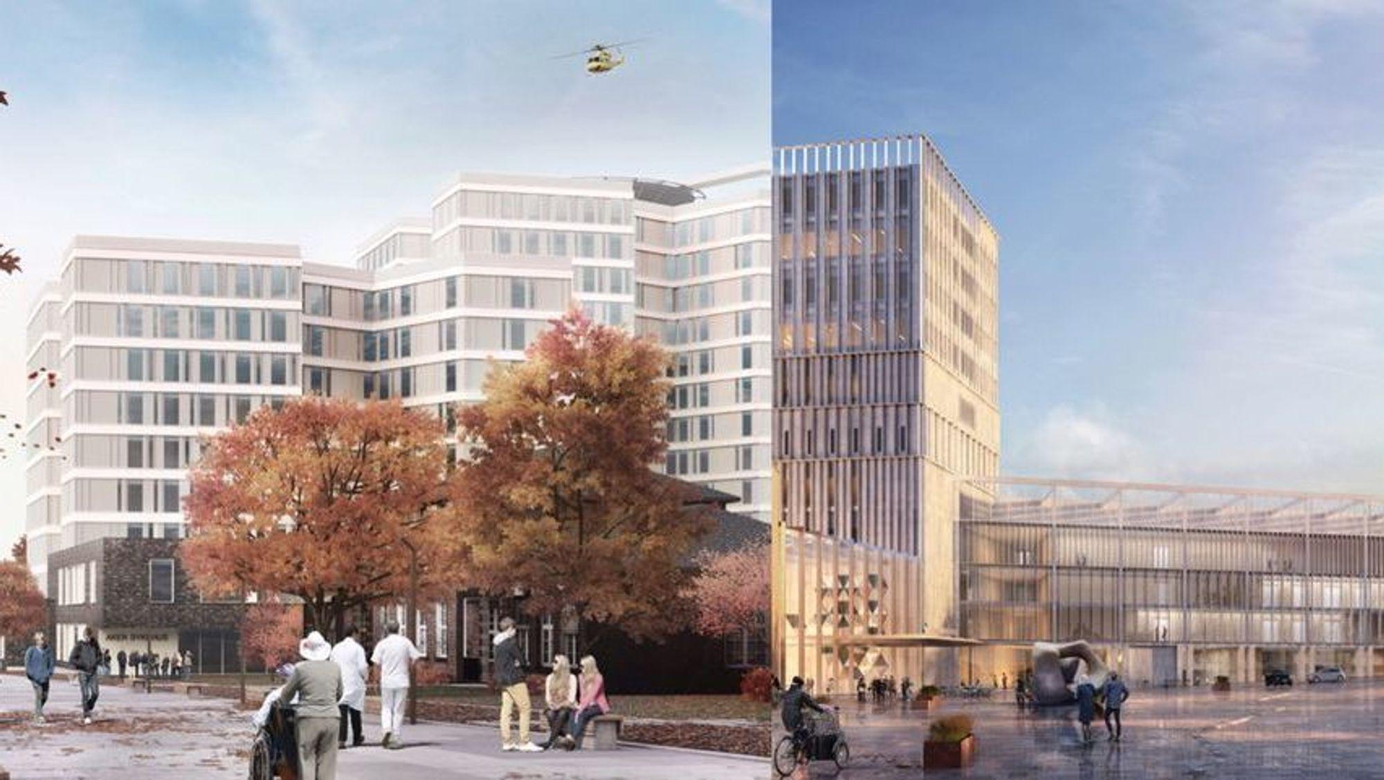 Til venstre: Skisse av nye Aker sykehus. Til høyre: Skisse av nye Gaustad sykehus.