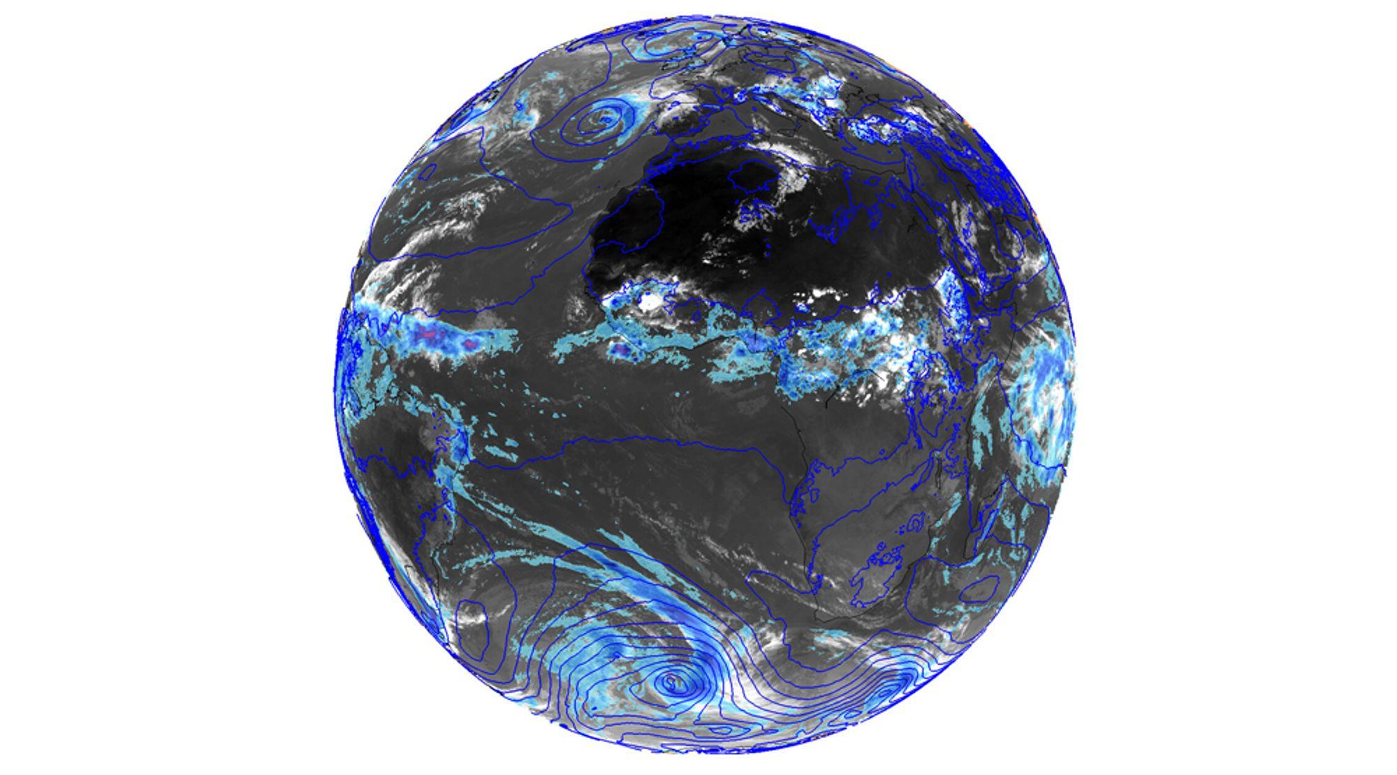 Verdensværet: Bildet med jordkloden viser varsel fra ECMWF sin høyoppløste modell i 9 kilometer oppløsning. Her er det plottet 3 timers akkumulert nedbør og lufttrykk ved havnivå.