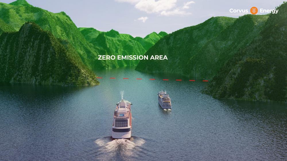 Fra 2026 blir det forbudt å seile inn  Geirangerfjorden og de andre fjordene på Unescos verdensarvliste for andre enn nullutslippsfartøy.  Corvus har lansert batteritype på opp til 50 MWh som kan brukes av cruiseskip.  Corvus, Blue Whale batterier for cruiseskip