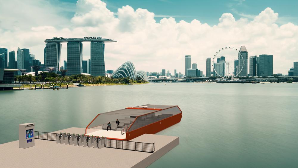 Store byer ved havet eller store elver i Asia er ideelle for autonome småferger. Illustrasjonen er fra Singapore.