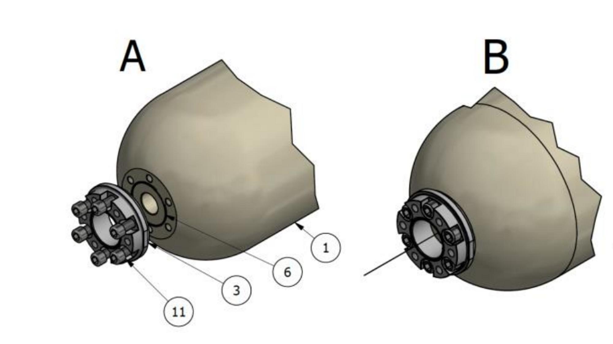 Illustrasjon av enden på hydrogentanken.