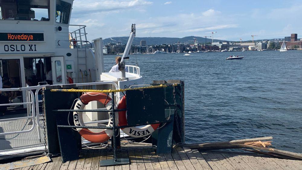 Fergen Oslo XI har kollidert med brygga på Hovedøya utenfor Oslo.