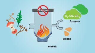 Sammen med Scanship skal Lindum nå sette opp et pyrolyseanlegg som forkuller  organiske avfallsfraksjoner ved 400 – 850 grader under fravær av oksygen og lager  et karbonrikt materiale, biokull, syngass (som består av hydrogen, karbonmonoksid og metan) samt bioolje, en oljefraksjon. Jo høyere temperatur jo mer syngass blir produsert og mindre biokull. Ved 500 grader lages det ca. 30-40% biokull av det organiske avfallet.