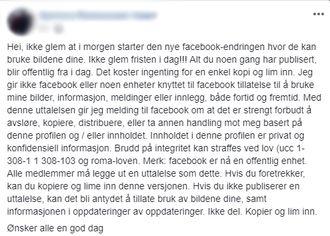 Skjermbilde av et av innleggene om at man vil reservere seg mot at Facebook bruker innholdet.