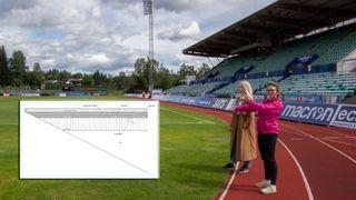 Thea Mork Kummen og Camillia Torp fra Bærum Kommune viser hvor gropvarmelageret kan bygges. Dette er Nadderud Stadion. Innfelt er Rambølls figur av gropvarmelageret.